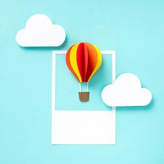 Arte de papel ofício de um balão de ar quente