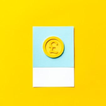 Arte de papel ofício de uma moeda de libra do reino unido