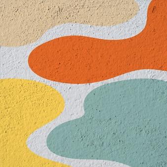 Arte de rua parede branca com padrão abstrato colorido do lado de fora
