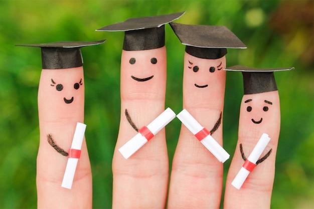 Arte dedo de estudantes
