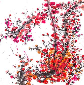 Arte, desenho, padrão, bonito, china, árvore