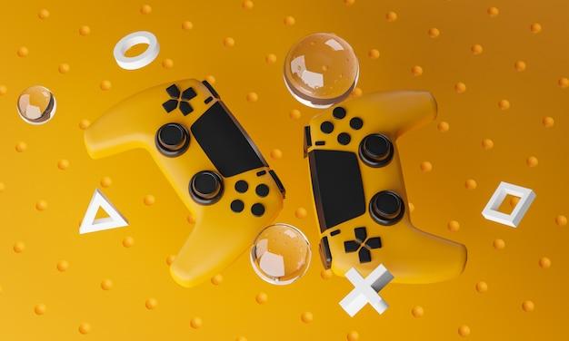 Arte digital de gamepad amarelo preto renderização em 3d