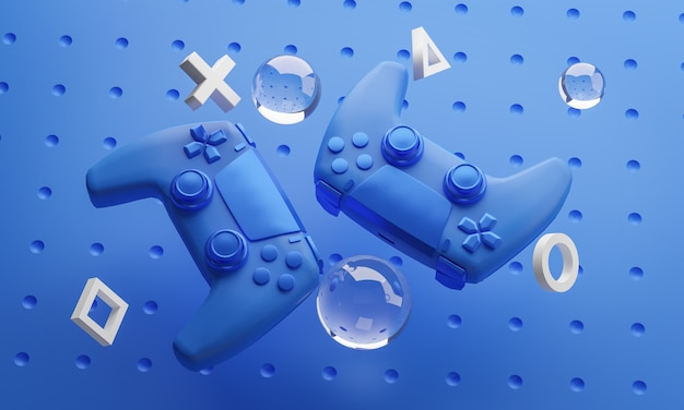Arte digital de gamepad azul fundo renderização em 3d