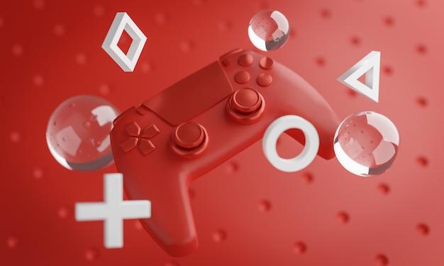 Arte digital de gamepad vermelho fundo renderização em 3d