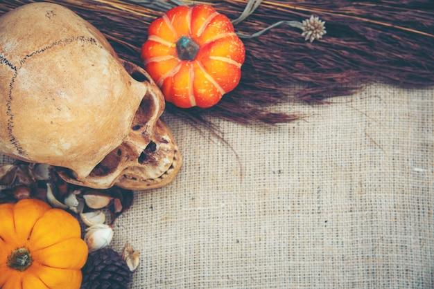Arte do crânio humano, conceito de halloween