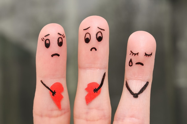 Arte do dedo da família durante a discussão.