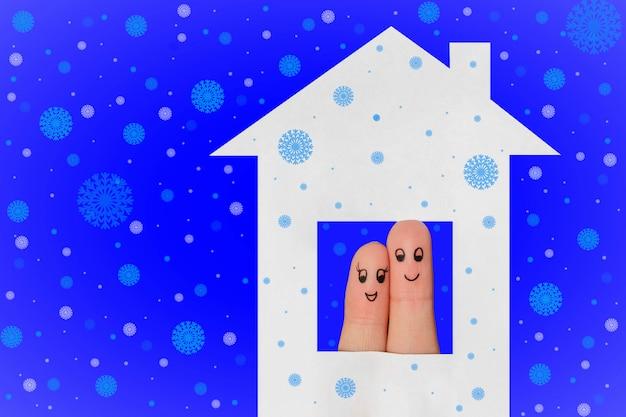 Arte do dedo de um casal feliz, olhando pela janela