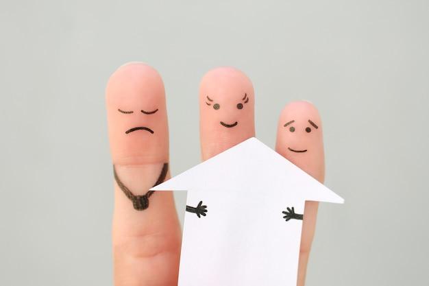 Arte dos dedos da família durante a briga. conceito de homem e mulher dividem a casa após o divórcio.