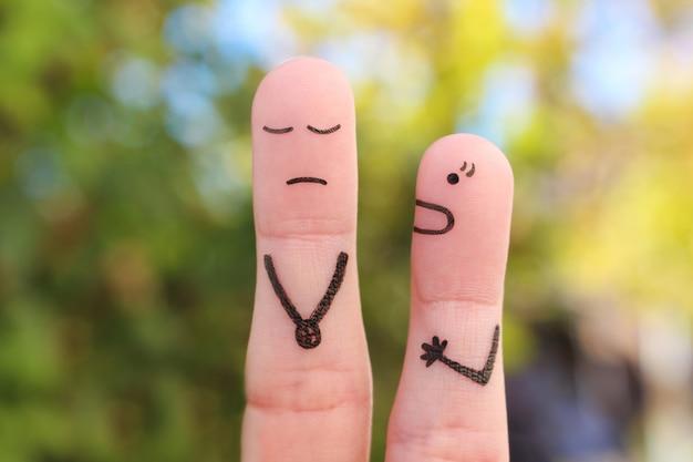 Arte dos dedos da família durante a briga. o conceito de esposa grita com o marido.