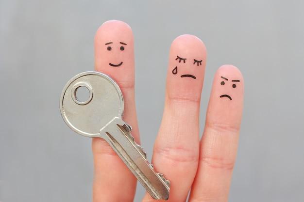 Arte dos dedos da família durante a briga. o conceito de homem e mulher não pode dividir propriedade após o divórcio.