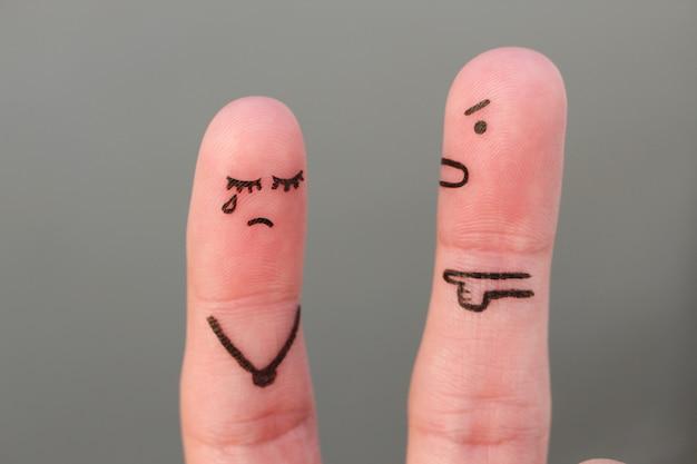 Arte dos dedos da família durante a discussão. conceito de marido grita com a esposa