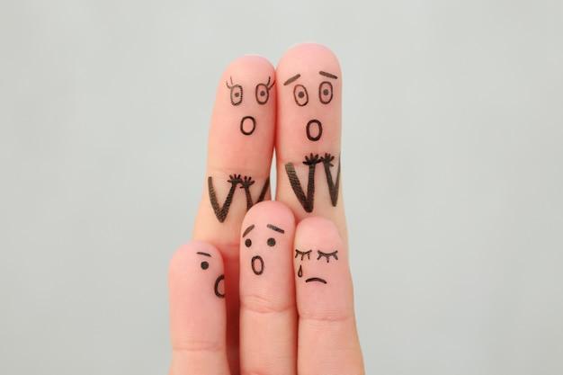 Arte dos dedos da família durante a discussão