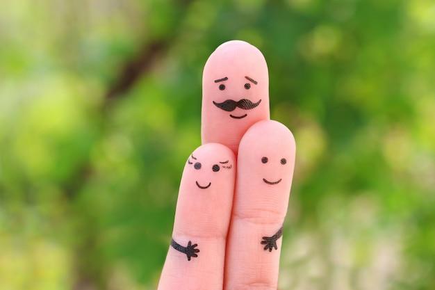 Arte dos dedos da família feliz