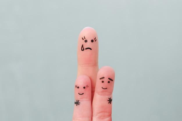 Arte dos dedos da família. mãe solteira do conceito deixada sozinha com os filhos.
