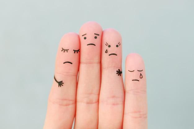 Arte dos dedos da triste família. conceito de suporte em situações difíceis.