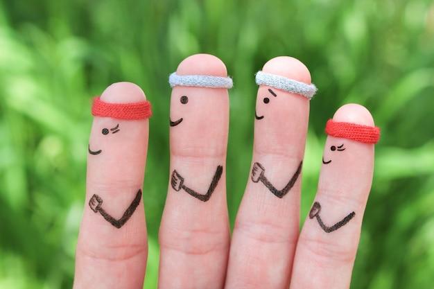 Arte dos dedos de uma família feliz nos esportes. conceito de pessoas estão correndo.
