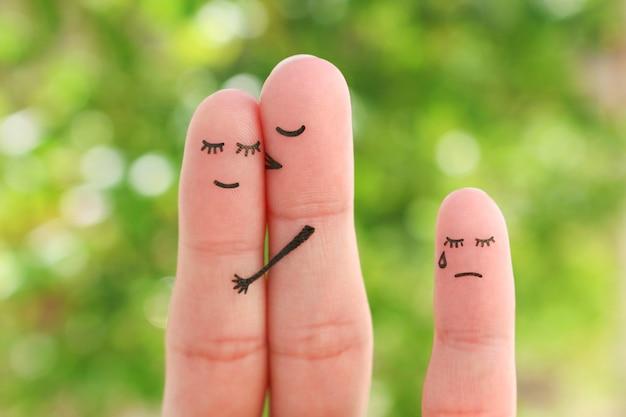 Arte dos dedos do casal feliz e dedo triste