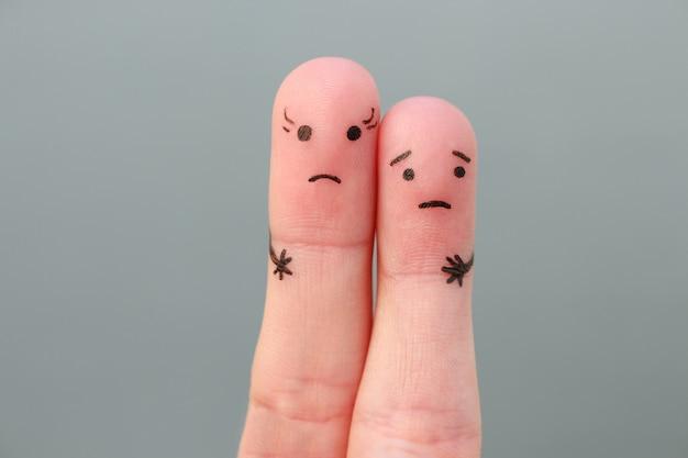Arte dos dedos do casal. mulher do conceito mais alta que o homem.