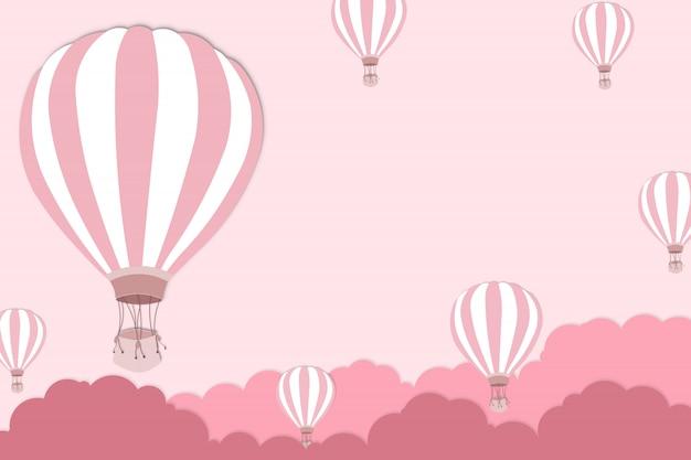 Arte-final de balão para o festival internacional de balão - balão-de-rosa no fundo do céu rosa