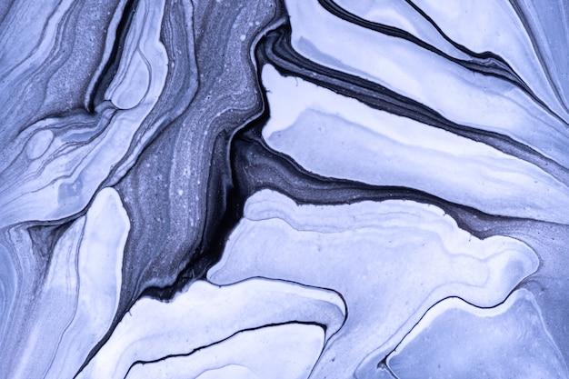 Arte fluida abstrata fundo azul claro e cores brancas. mármore líquido. pintura acrílica sobre tela com gradiente preto. pano de fundo aquarela com padrão ondulado. seção de pedra.