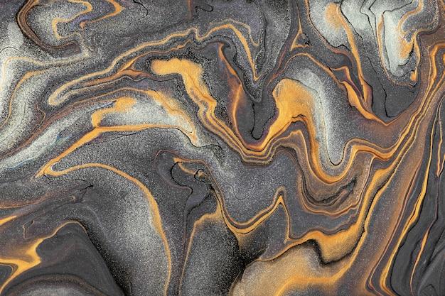 Arte fluida abstrata fundo cinza escuro e cores prata. mármore líquido. pintura acrílica sobre tela com linhas douradas e gradiente.
