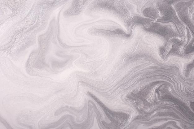 Arte fluida abstrata fundo luz prata e cores brancas.