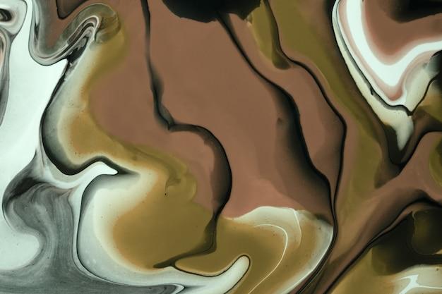 Arte fluida abstrata fundo marrom escuro e cores pretas. mármore líquido. pintura acrílica com linhas cinzas e gradiente.