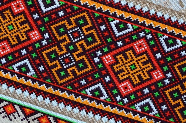 Arte folclórica ucraniana tradicional de malha padrão de bordado em tecido