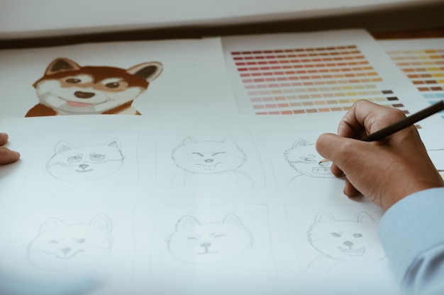 Arte gráfica do desenho do artista designer gráfico. local de trabalho design criativo