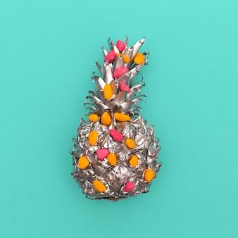 Arte minimalista de abacaxi prateado