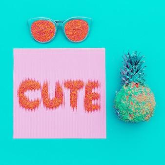 Arte minimalista na moda bonita. óculos e abacaxi.