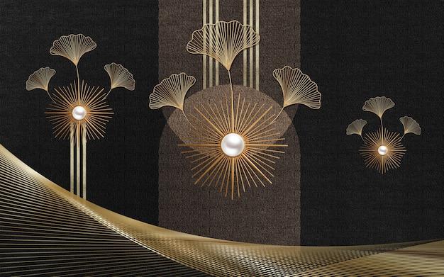 Arte papel de parede chinês linhas douradas ondas em fundo escuro para a decoração da parede da casa.