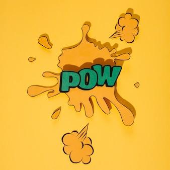 Arte retrô de pow palavra verde sobre fundo amarelo respingo