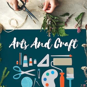 Artes e artesanato conceito de ideias de design de artistas artísticos