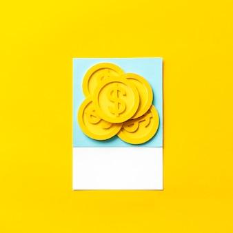Artesanato de papel arte de moedas do dólar dos eua