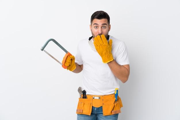 Artesãos ou eletricista homem isolado parede branca