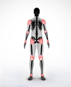 Articulações de um esqueleto digital preto