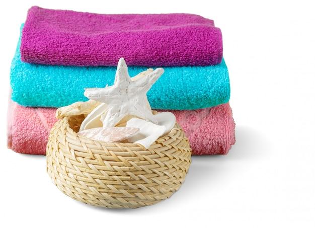 Artigos de banho de banho spa isolados no fundo branco