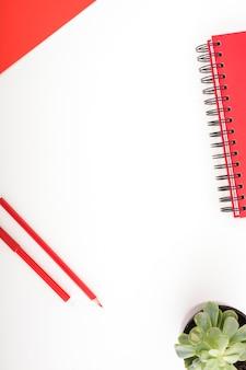 Artigos de papelaria coloridos vermelhos e planta em vaso no fundo branco