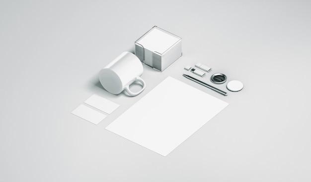 Artigos de papelaria de escritório branco em branco isolado