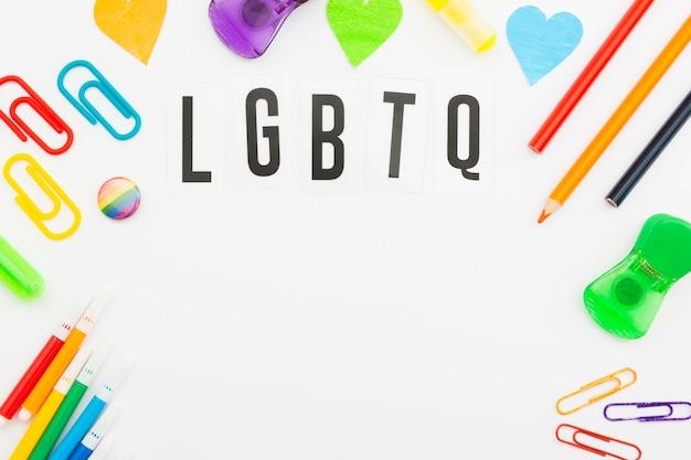 Artigos de papelaria do dia da sociedade lgbt do orgulho