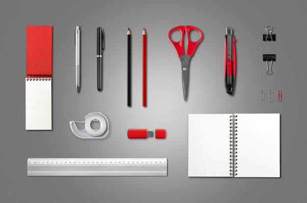Artigos de papelaria, modelo de material de escritório, fundo antracite