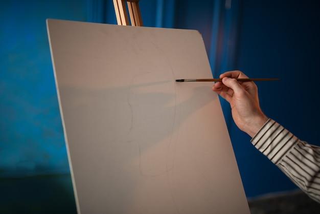 Artista com paleta e pincel na frente do cavalete