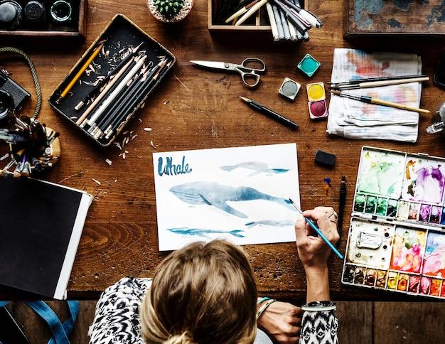 Artista, desenho, com, aquarelas