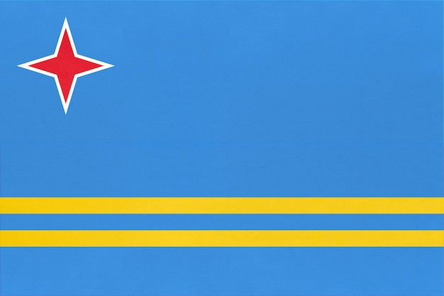 Aruba tecido nacional bandeira têxtil fundo. sinal do caribe oficial do estado.