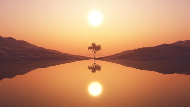Árvore 3d contra o céu do por do sol