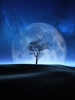 Árvore 3d contra um céu noturno da lua