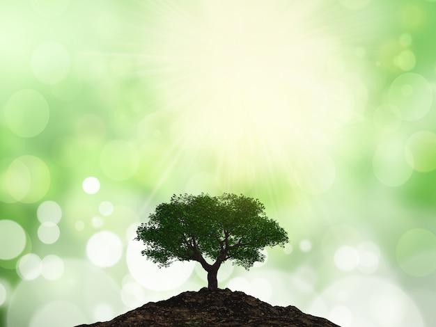 Árvore 3d em um monte de solo