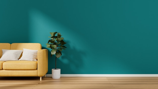 Árvore amarela do sofá e do ficus no assoalho estratificado com parede vazia.