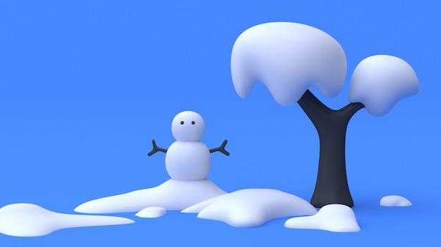 Árvore boneco de neve azul natureza inverno cena resumo dos desenhos animados estilo minimalista 3d rendering